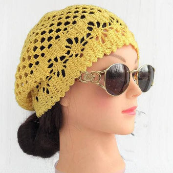 2b0d76fd22f Summer crochet beret hat outfit Cotton crochet lace beanies hat