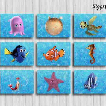 finding nemo print set of 9 nursery nautical nautical prints disney gifts finding dory favors