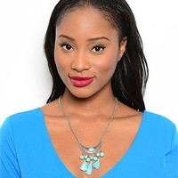 Turquoise and Coral Bib w Tassles Necklace and Earring Set in Bronze or Silver