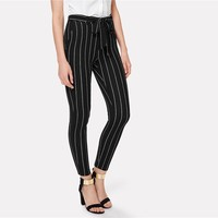 Women Elastic Waist Belted Bow Tapered Trousers Spring  Elegant Workwear Pants