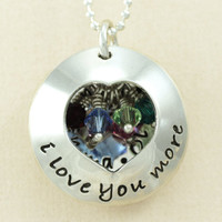 I Love You More personalized locket style - CUSTOM sterling silver hand stamped necklace