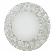All White Round Mosaic Wall Mirror