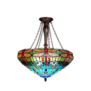 "Scarlet, Tiffany-Style 3 Light Dragonfly Inverted Ceiling Pendant 24"" Shade"