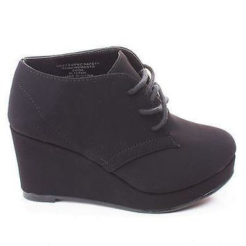 FavorIIS Black By Soda, Children Girls Round Toe Lace Up Wedge Ankle Bootie