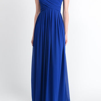 Affordable Floor length Jeweled ruched Long Bridesmaid Dress in Royal Blue