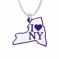I Love New York Silver State Necklace with Color Accent