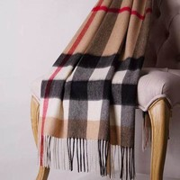 BURBERRY Trending Grid Print Cashmere Scarf Big Shawl Accessories I