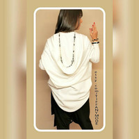 Extravagant Asymmetric Tunic / Asymmetrical White Tunic / Long Sleeved Top / White Top/ Oversize Clothing/ Plus Size Clothes / Maternity Top