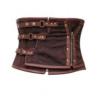 CD-465 - Brown Brocade Underbust Corset with Zip Detail