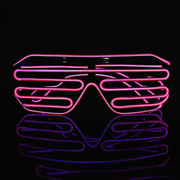 3 Modes quick Flashing EL Wire Neon LED Light Up Shutter Fashionable Glasses for Costume Party Festival