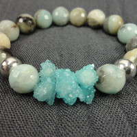 Aqua Druzy and Amazonite Gemstones/Sterling Silver/Stacking Bracelet/Fancy Boho