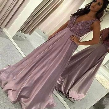 7b65c054fdb Women Sequin Dress Pink Prom Party Ball Gown Sexy Evening V Neck Long Dress  Elegant Fashion