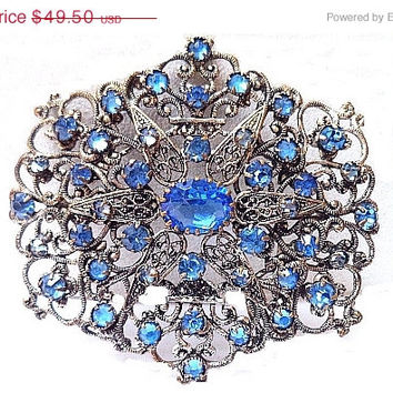 CIJ Sale Art Nouveau Brooch Pin Blue Rhinestones Silver Metal  Floral Filigree Work C Clasp BIG 2 3/4 in Vintage