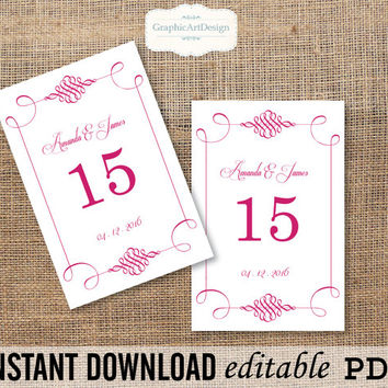 Elegant Swirls (Raspberry Pink) - 4x6 - Wedding Table Number Card Template Printable Editable Text - PDF- Instant Download