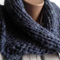 "Circle Scarf ""Comfort"", Knitting, Knitted Scarf, Knitting Scarf, Blue warm scarf, winter scarf, soft scarf, Volume scarf,Scarf of bulky yarn"