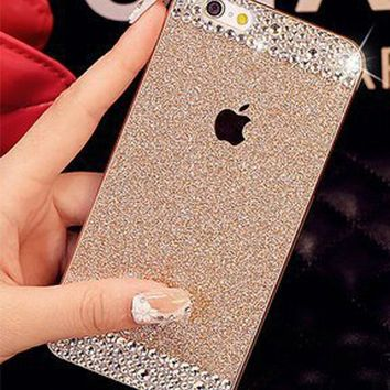 Case Cover for iPhone Glitter powder 4 5 66S Plus crystal Hard