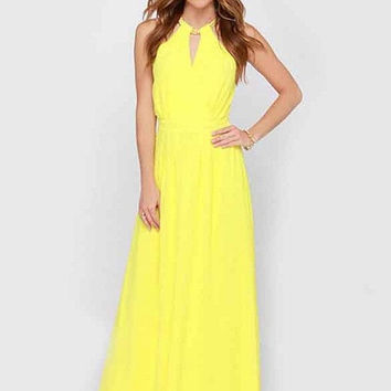 Women Elegant Dress Sleeveless Lady Long Maxi Elegant Chiffon Dress O Neck Yellow Summer Style Party Dress Chain Collar SV021355