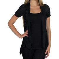 Smooth Fashion Women's Short Sleeve Open Flyaway Cardigan Sweater (Small, Black)