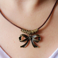 Jewelry leather necklace women necklace girls necklace made of brown leather and bronze bowknot XL8