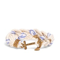 Kiel James Patrick White and Light Blue Braided Bracelet - Brooks Brothers