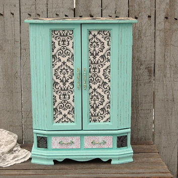 Shabby Chic Jewelry Box, Jewelry Armoire, Mint Green, Decoupage, Damask,  Upcycled