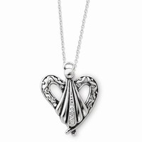 Sterling Silver Antiqued Angel Of Friendship Necklace