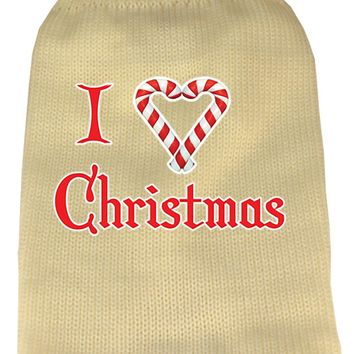 I Heart Christmas Screen Print Knit Pet Sweater Xl Cream