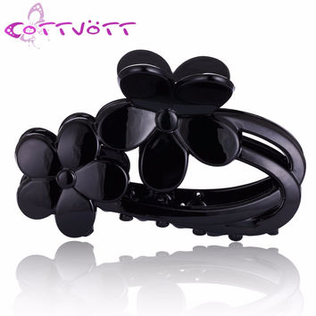 2016 New Acrylic Platstic Black Hair Accessories Flowers Claws Jaw Clips Crab Grip Holder for Womens Elegant Hair Jewelry FZ40