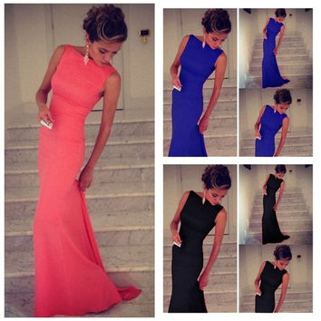 Fashion Women Solid Floor-Length Dress Sleeveless Wedding Evening Party Prom Ball Gown  Black Blue Pink [7654230150]