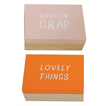 Flirt Collection Lovely Things and Random Crap - Wooden Jewelry Trinket Storage Boxes with Phrase Set of 2 - 5-in x 3-1/2-in