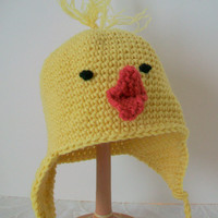 Baby hat Infant ear flap hat Easter chick hat Chicken Little style Yellow helmet hat