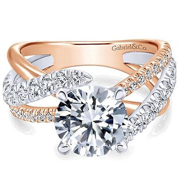 "Gabriel ""Zaira"" Two-Tone White & Rose Gold Bypass Twist Diamond Engagement Ring"