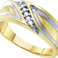 10kt Yellow Gold Mens Round Diamond Band Wedding Anniversary Ring 1/10 Cttw 10173
