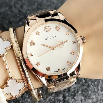 GUCCI Fashionable Ladies Men Personality Quartz Watch Wristwatch Rose Golden