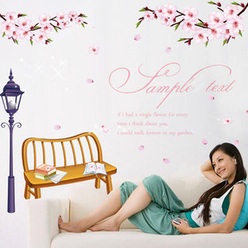 Romantic cherry blossom Bedroom, sitting room porch Removable wall stickers PVC transparent film SM6