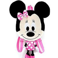 "Disney Minnie Mouse 21"" Girls Pink Minnie 3D Face Shaped Plush Backpack"