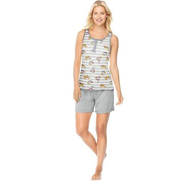 Hanes Ultimate Womens  Henley Tank/Shorts Sleep Set