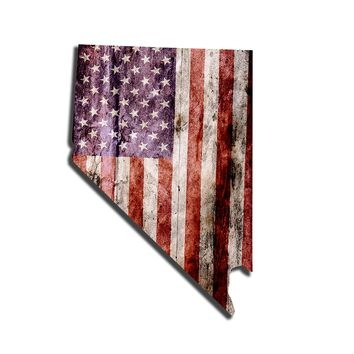 Nevada Distressed Tattered Subdued USA American Flag Vinyl Sticker