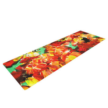 "Ebi Emporium ""Floral Fantasy II"" Orange Yellow Yoga Mat"