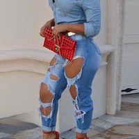Curled Big Holes Slim High Waist Long Jeans