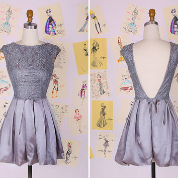 Silver Grey Beading Lace Short Prom Dress/Lace Homecoming Dress/Grey Mini Party Dress/Low Back Prom Party Dress DAF0036