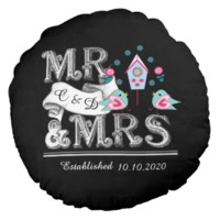 Mr and Mrs Personalized Wedding Gift Round Pillow