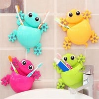 1PC Cartoon Gecko Home Bathroom Toothbrush Holder Wall Mount Sucker Storage Rack