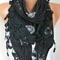 Black  Embroidered Floral Cotton Scarf Spring Summer Cowl Bridesmaid Gift Bridal Accessories Gift Ideas For Her Women Fashion Accessories