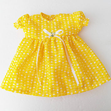 "Bitty Baby Clothes handmade for the 15"" Girl or baby doll Heart valentines day yellow white heart nightgown"