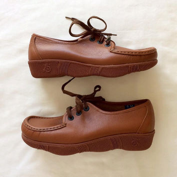 1970's Famolare Get Lite Wedges ~ Size 8 ~ Deadstock ~ Brown Leather Shoes ~ Made in Italy ~ Vintage 70's