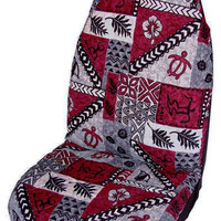 Red Hawaiian Tapa Car Seat Covers