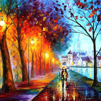 City By The Lake - oil painting by Leonid Afremov