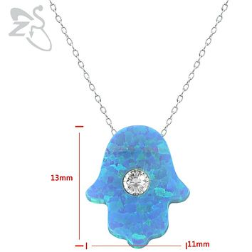 Hamsa Jewelry 925 Sterling Silver Necklace Blue Opal Stone  Israel