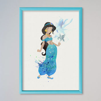 Jasmine Princess FRAMED Watercolor print Disney Jasmine Watercolor Illustration poster Kids art Wall art Nursery Giclee Print Fine Art